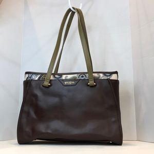 Spartina 449 Brown Leather and Linen Tote Bag